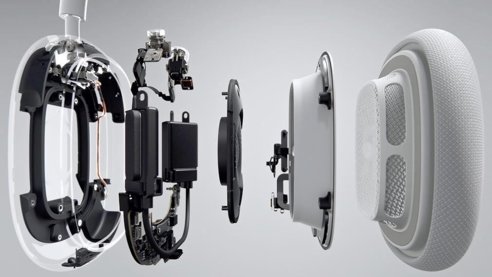 Die AirPods Max sind vollgestopft mit Technik, vom Treiber als Hauptakteur ist in der Grafik von Apple nur wenig zu sehen.