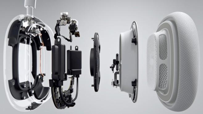 Die AirPods Max sind vollgestopft mit Technik, vom Treiber als Hauptakteur ist in der Grafik von Apple nur wenig zu sehen.©Apple