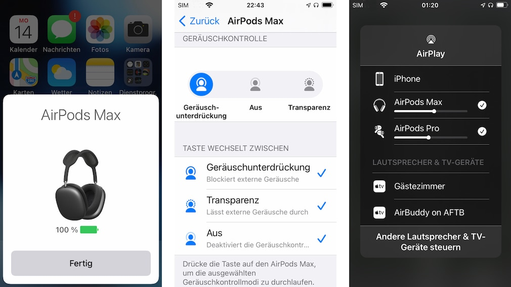 Die Kopplung mit iOS-Geräten klappt praktische von selbst, mit Android funktionieren die AirPods Max freilich auch.