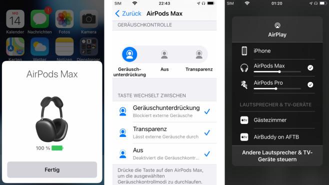 Die Kopplung mit iOS-Geräten klappt praktische von selbst, mit Android funktionieren die AirPods Max freilich auch.©COMPUTER BILD