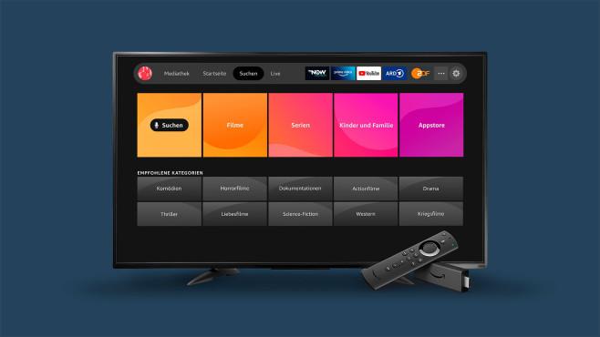 Fernseher zeigt die neue Fire TV Oberfläche.©Amazon
