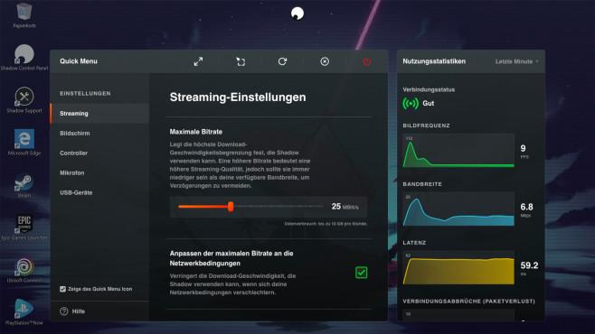 Cloud-Gaming-Dienste im Test: Shadow Verbindungsübersicht©Shadow, Microsoft