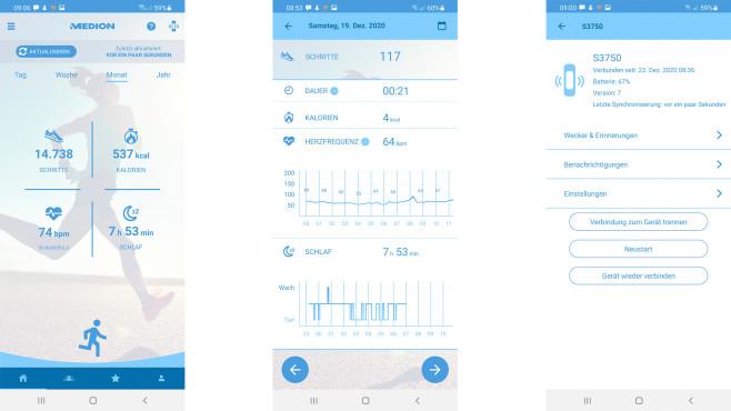 Auswertungen in der Medion-Fitness-App©Screenshot Medion Fitness App