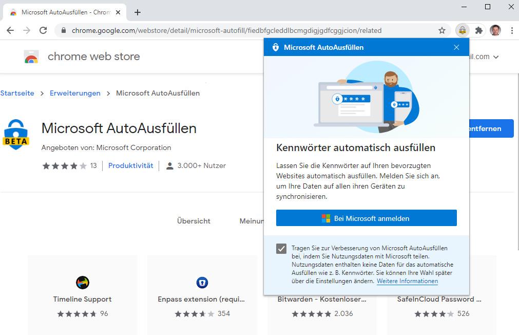 Screenshot 1 - Microsoft AutoAusfüllen für Google Chrome