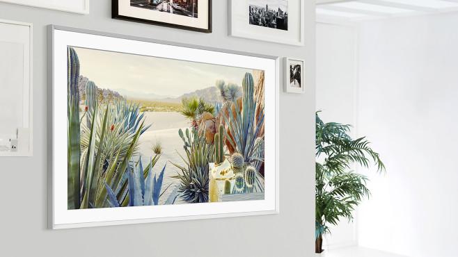 Samsung The Frame 2021: Auch der Bilderrahmen-Fernseher fällt deutlich flacher als bisher aus.©Samsung