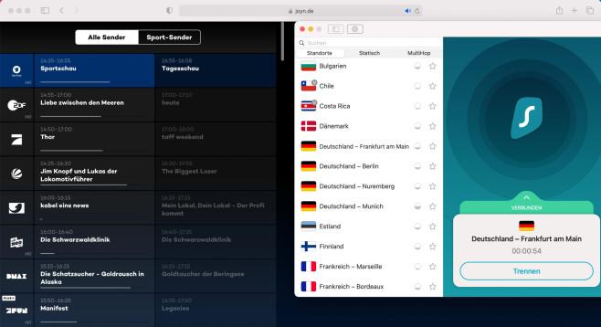 VPN: Deutsches Live-TV im Ausland gucken Per VPN schauen Sie auf der ganzen Welt deutsches Live-TV.©Joyn.de, Surfshark