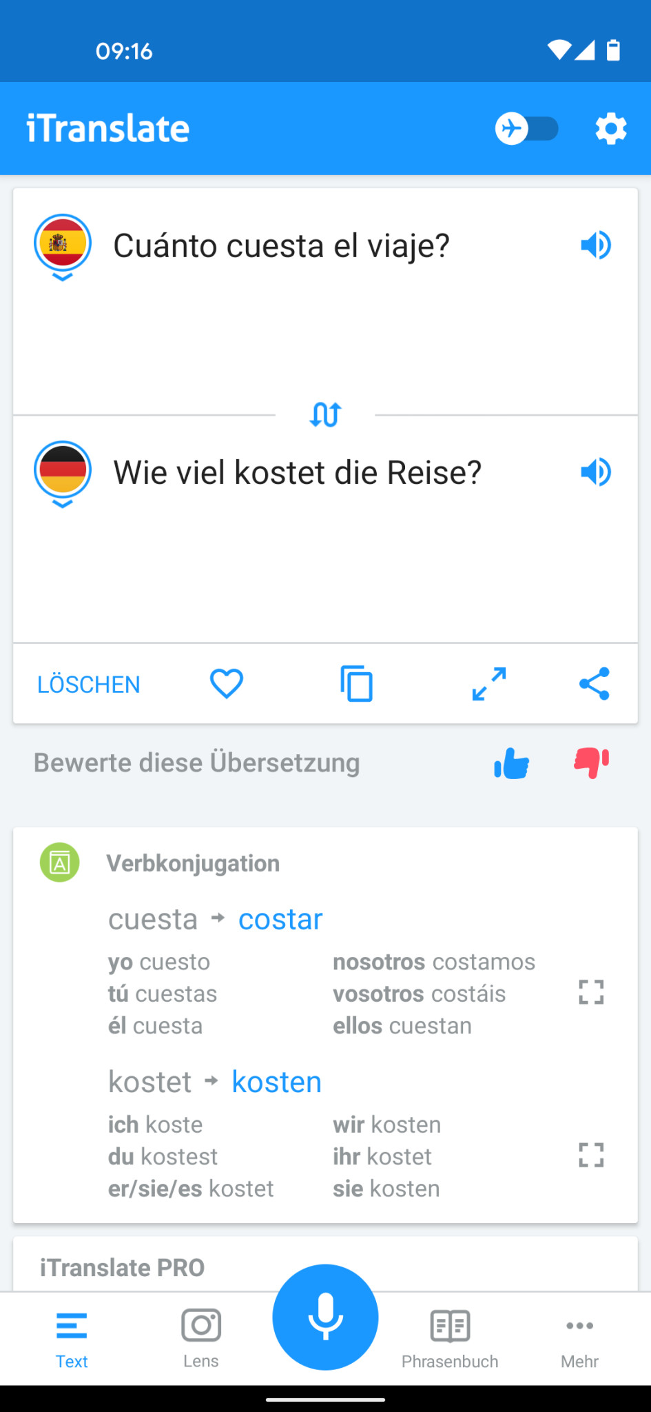 Screenshot 1 - iTranslate Übersetzer (Android-App)