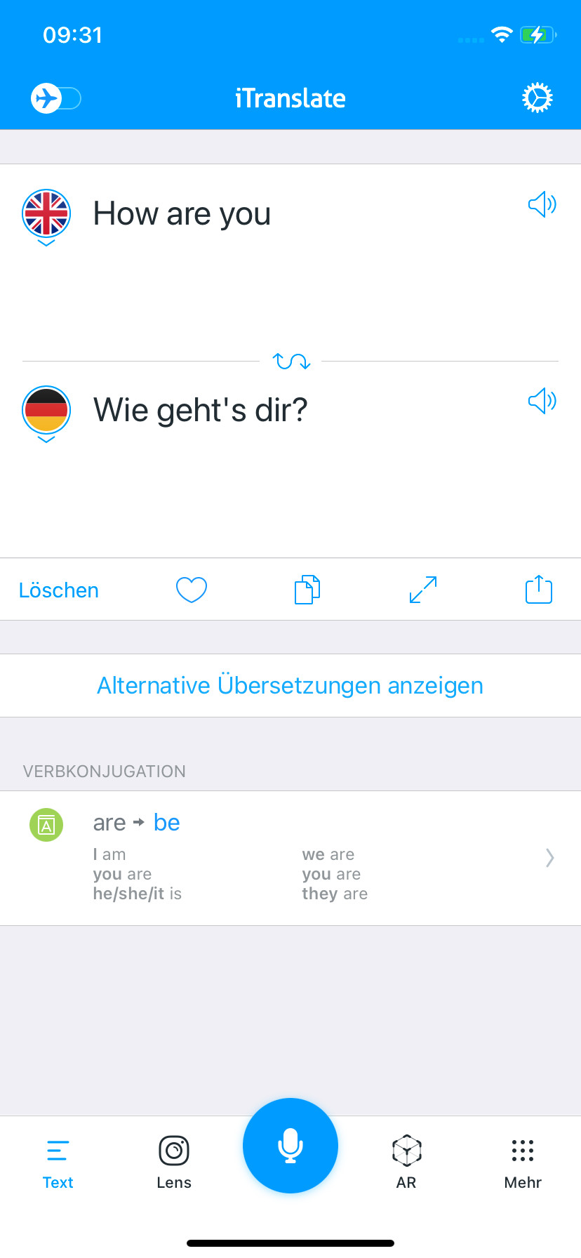 Screenshot 1 - iTranslate Übersetzer (App für iPhone & iPad)