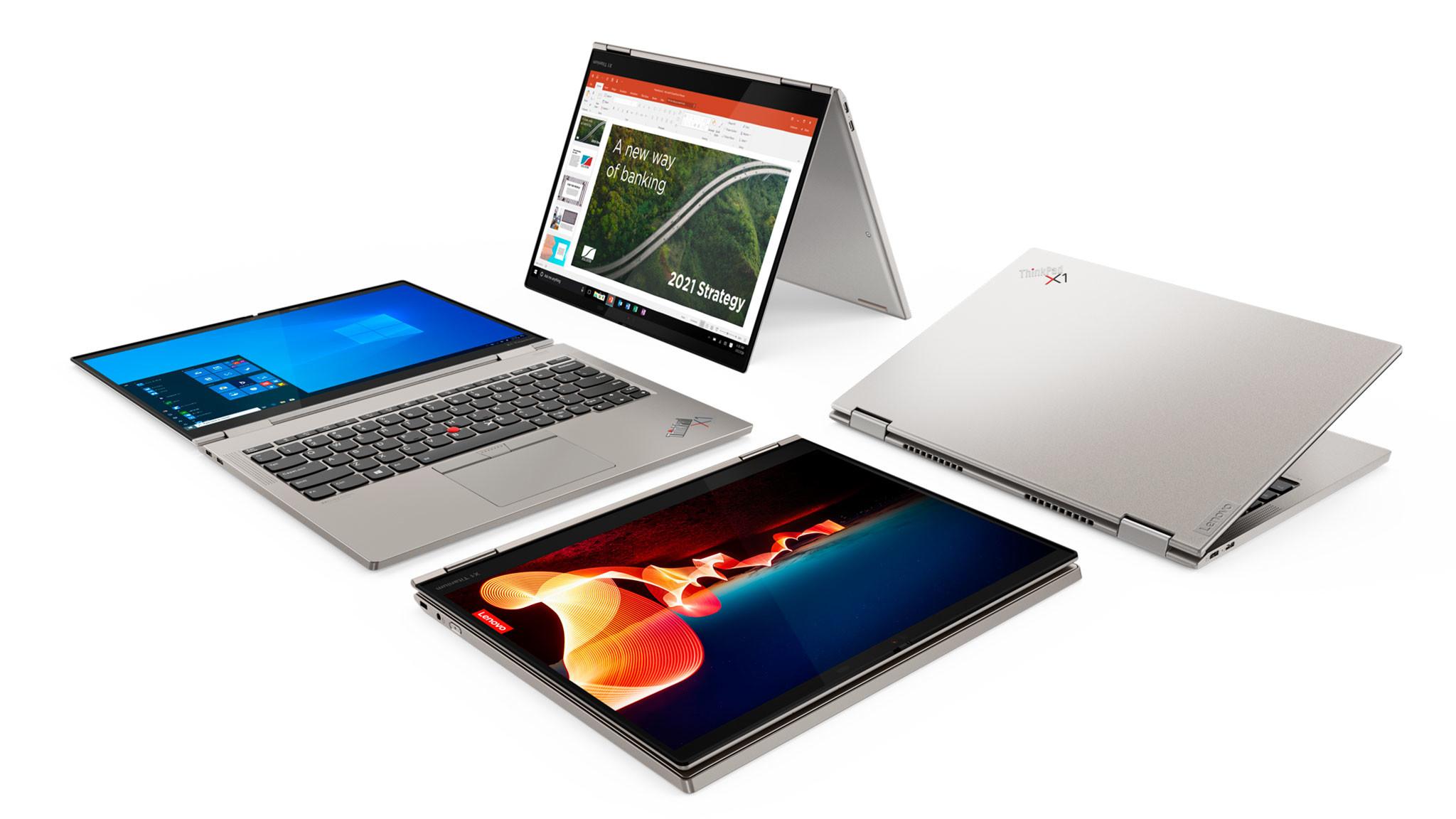 Lenovo ThinkPad X1 Titanium Yoga in diversen Modi vor weißem Hintergrund.©Lenovo