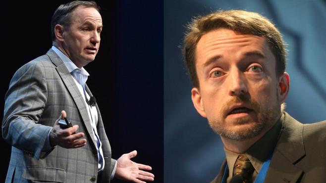 Intel-CEO: Bob Swan, VMware-CEO Pat Gelsinger©David Becker/gettyimages,  JOHN MACDOUGALL/gettyimages