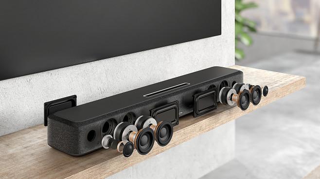 Denon baut in seine Home Soundbar 550 vier Tieftöner und zwei Hochton-Lautsprecher ein©Denon