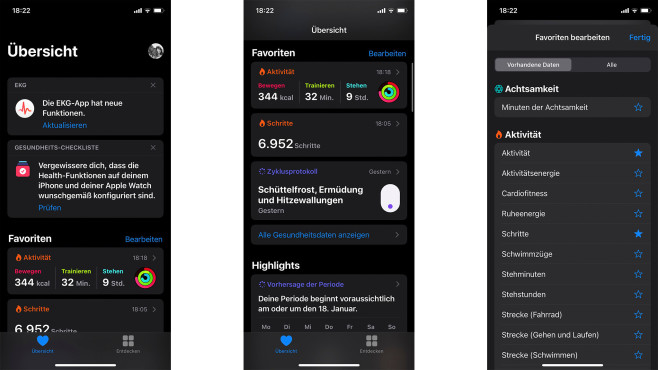 Health-App iPhone Favoriten©Screenshots: Health-App auf dem iPhone / COMPUTER BILD