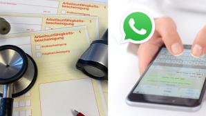 Krankschreibung und WhatsApp©iStock.com/PS3000, iStock.com/hocus-focus, WhatsApp