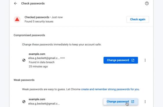 Google Chrome 88: Verbesserter Passwort-Check, gekürzte URLs und mehr Unsichere Passwörter bequem ändern: Ein Klick auf den Button führt Sie direkt zur entsprechenden Seite.©Google
