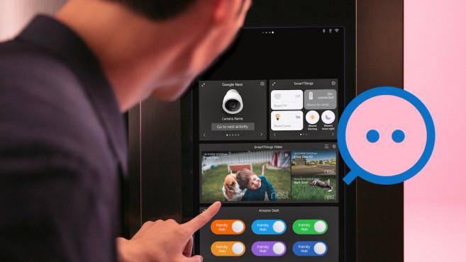 SmartThings und Nest-Kamera auf einen Samsung-Kühlschrank©Samsung