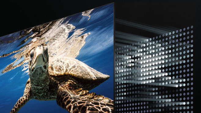 Mini-LED bringt Maxi-Kontrast: Viele kleine LEDs hinter dem Bildschirm leuchten nur dort mit voller Leistung, wo das Bild hell sein soll.©Samsung