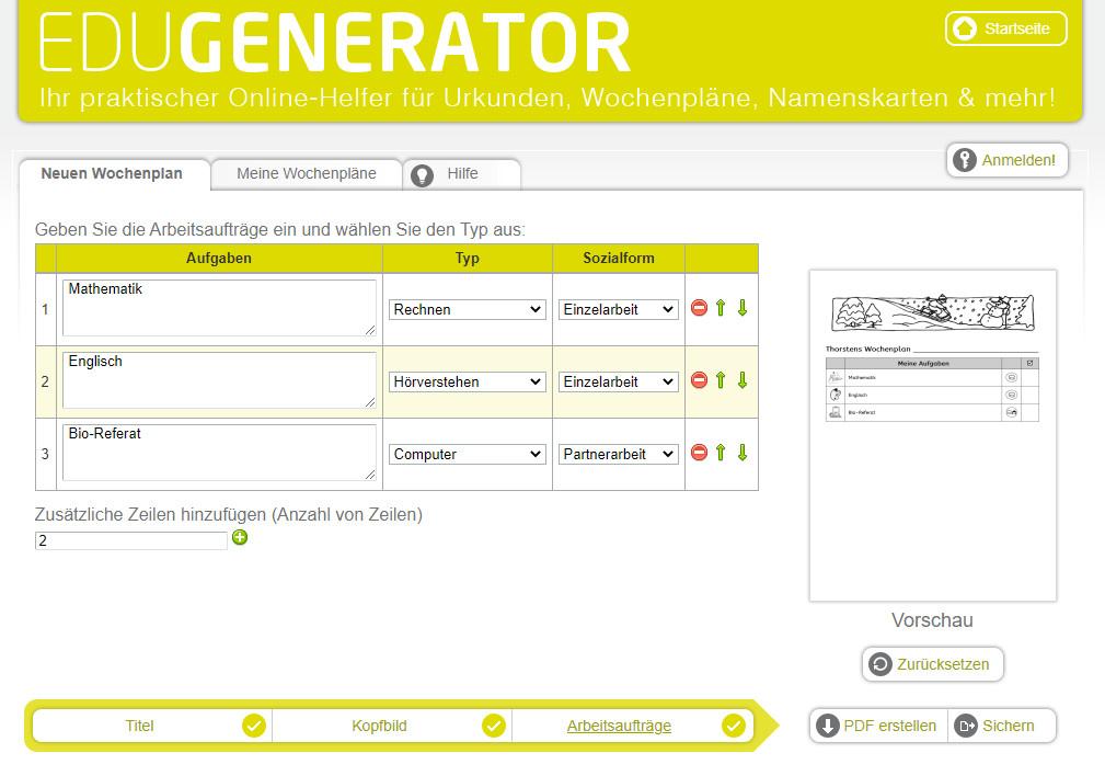 Screenshot 1 - Wochenplan Generator