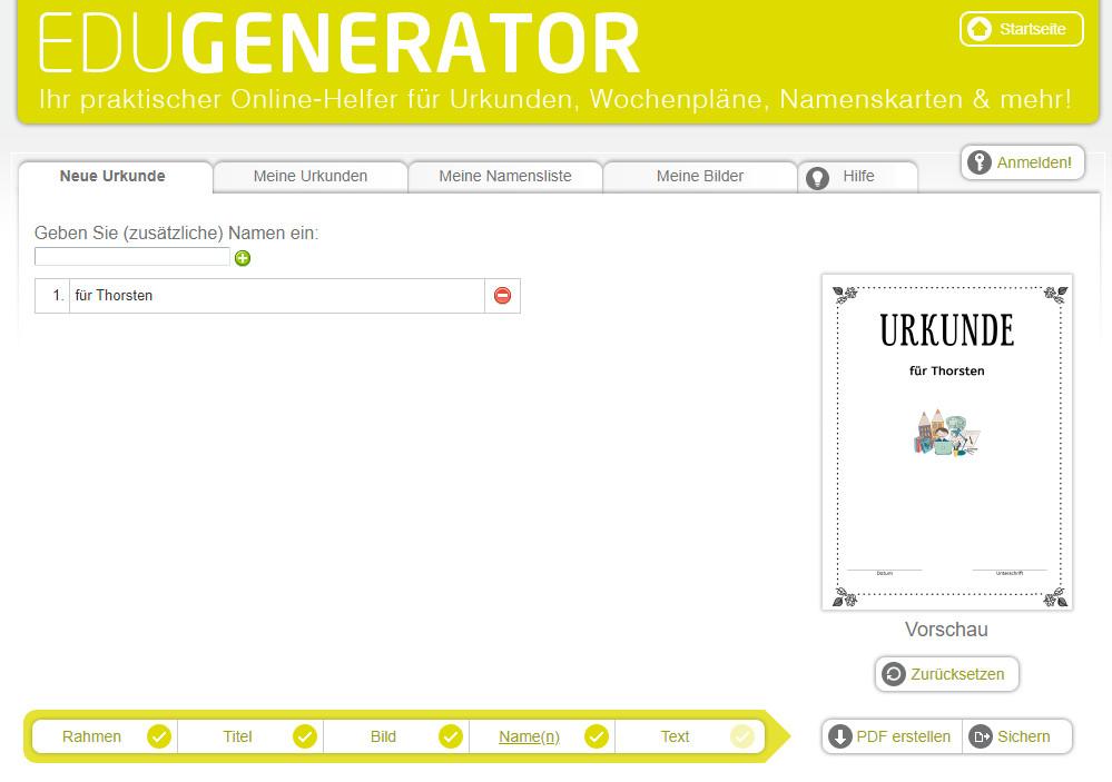 Screenshot 1 - Urkunden Generator
