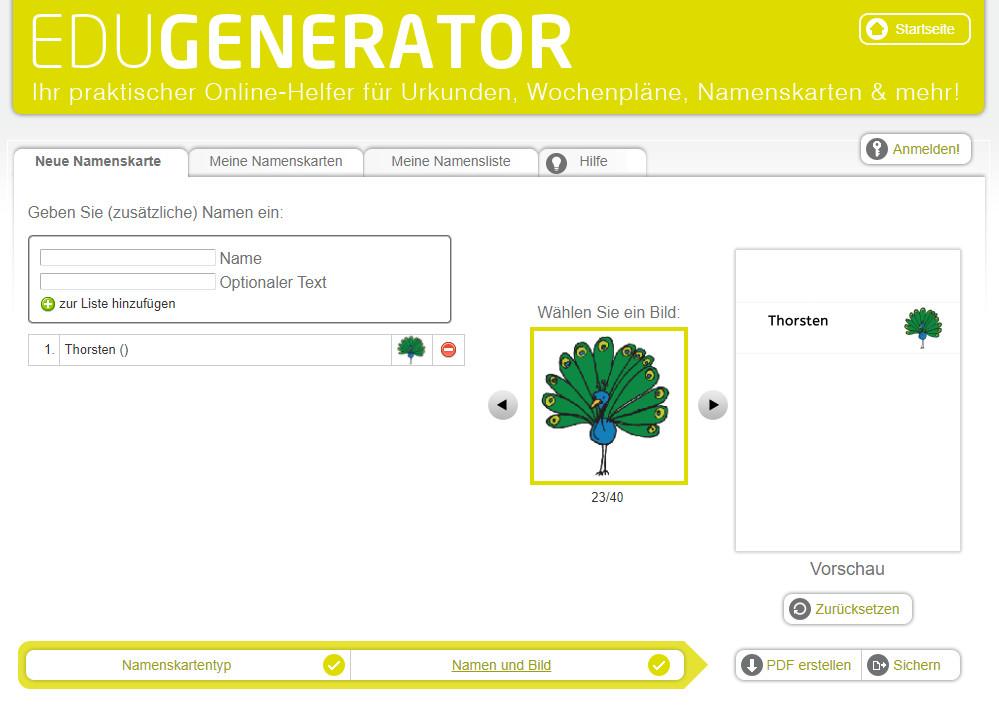 Screenshot 1 - Namenskarten Generator