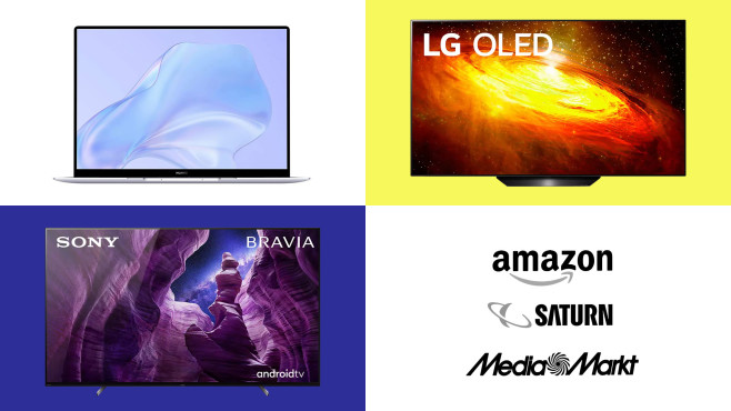 Amazon, Media Markt, Saturn: Top-Deals des Tages!©Amazon, Saturn, Media Markt, Huawei, LG, Sony