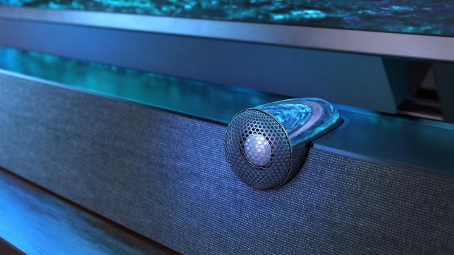 Die Lautsprecher des Philips PML9636 Mini-LED-Fernsehers steuert der britische Hersteller B&W bei.©Philips