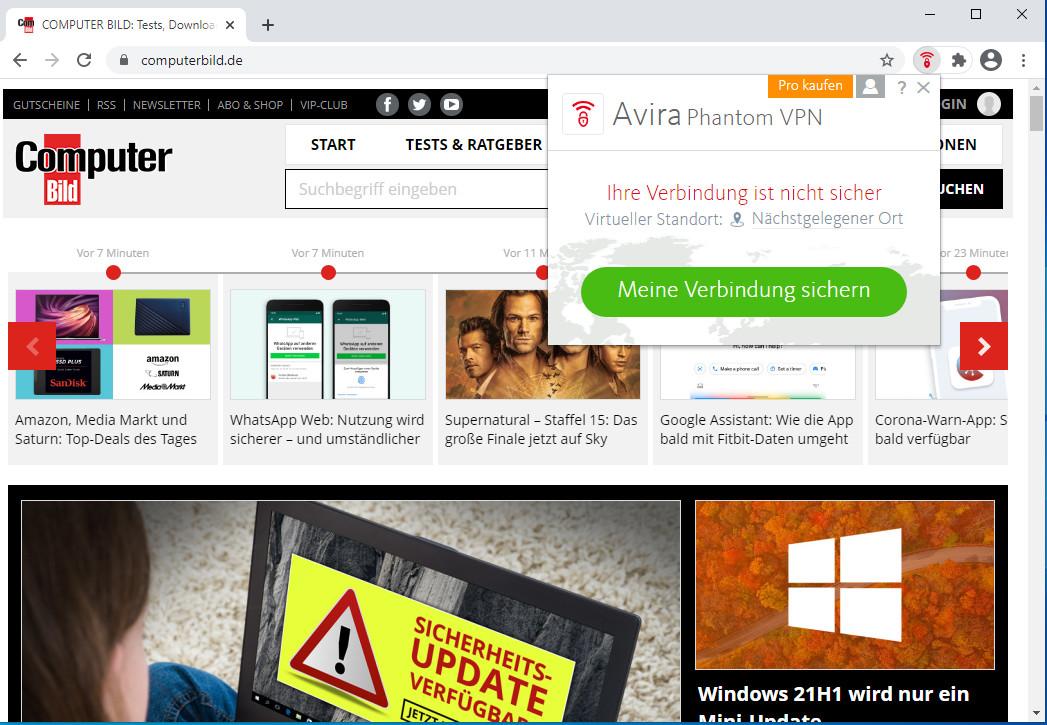 Screenshot 1 - Avira Phantom VPN für Chrome