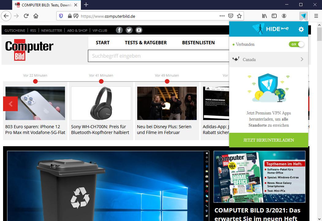 Screenshot 1 - Hide.me VPN für Firefox