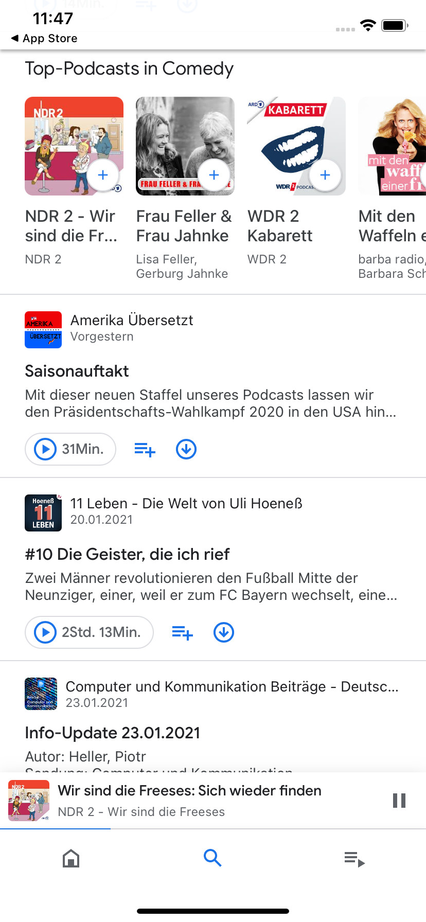 Screenshot 1 - Google Podcasts (iPhone-App)