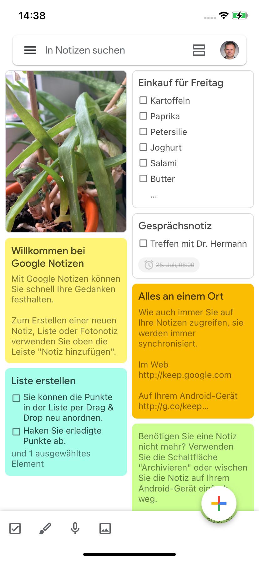 Screenshot 1 - Google Notizen (App für iPhone & iPad)