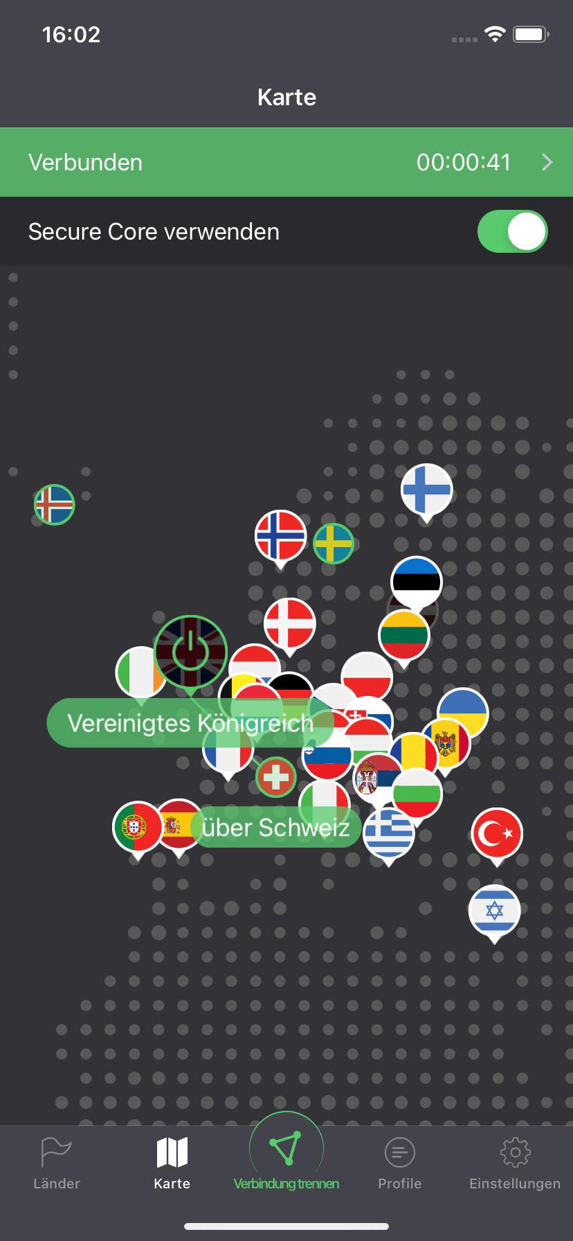 Screenshot 1 - ProtonVPN (App für iPhone & iPad)