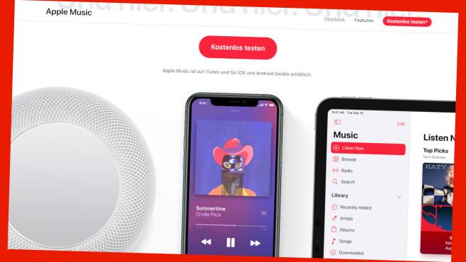 Apple Music jetzt drei Monate lang kostenlos testen.©www.christ.de/Screenshot