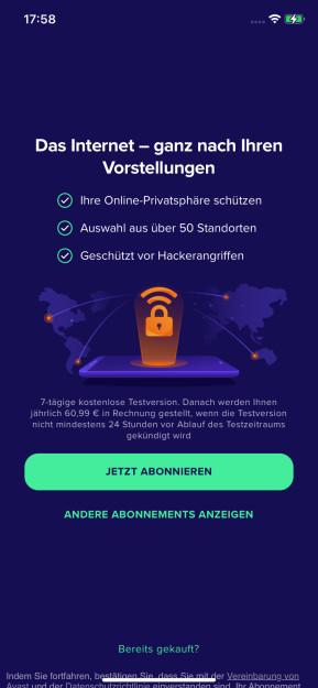 Avast SecureLine VPN (App für iPhone & iPad)