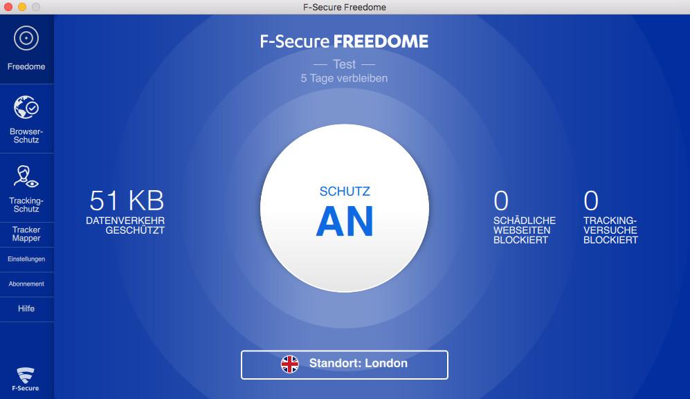 Screenshot 1 - F-Secure Freedome VPN (Mac)
