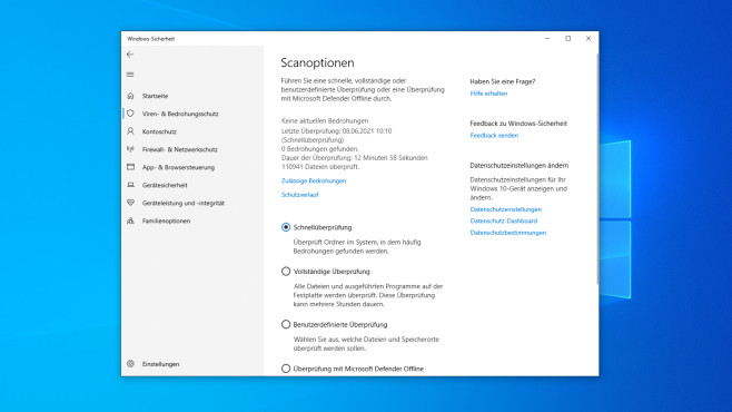 Microsoft Defender Antivirus: Tutorial zum schlanken Bordmittel-Virenscanner Die verschiedenen Scan-Optionen schicken den Microsoft Defender unterschiedlich gründlich auf Malware-Pirsch.©COMPUTER BILD