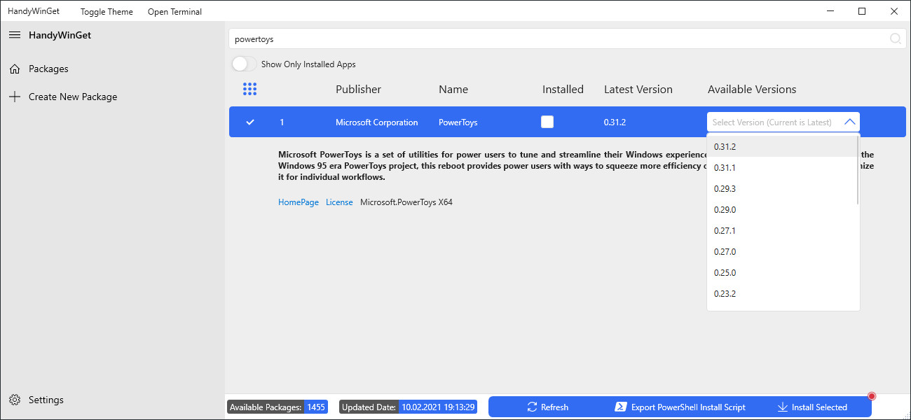 Screenshot 1 - HandyWinGet (GUI für Windows Package Manager)