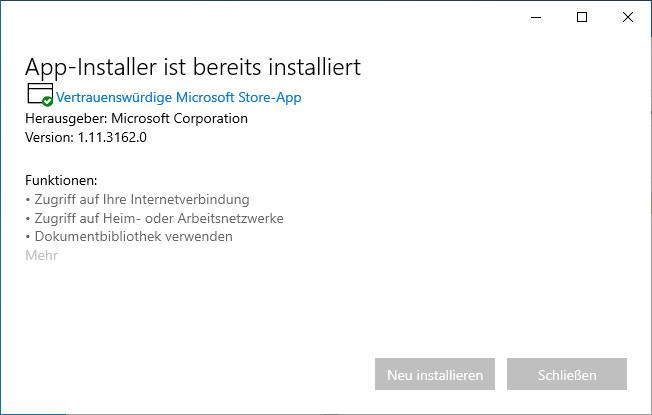 Screenshot 1 - Microsoft App-Installer für Windows 10
