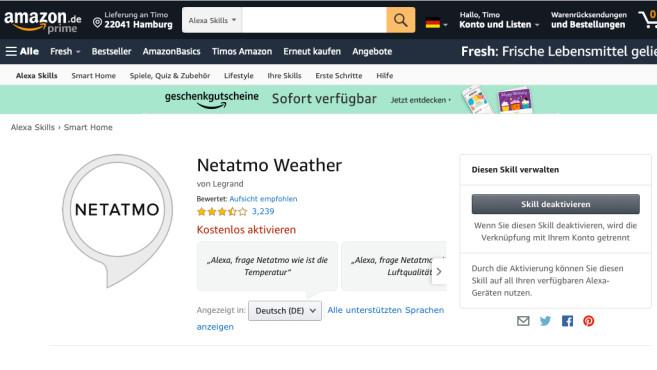 Netatmo-WheaterSkill für Alexa©COMPUTER BILD, Amazon