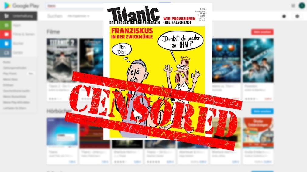 """""""Censored"""" über Titanic-Cover©Google, iStock.com/Aquir"""
