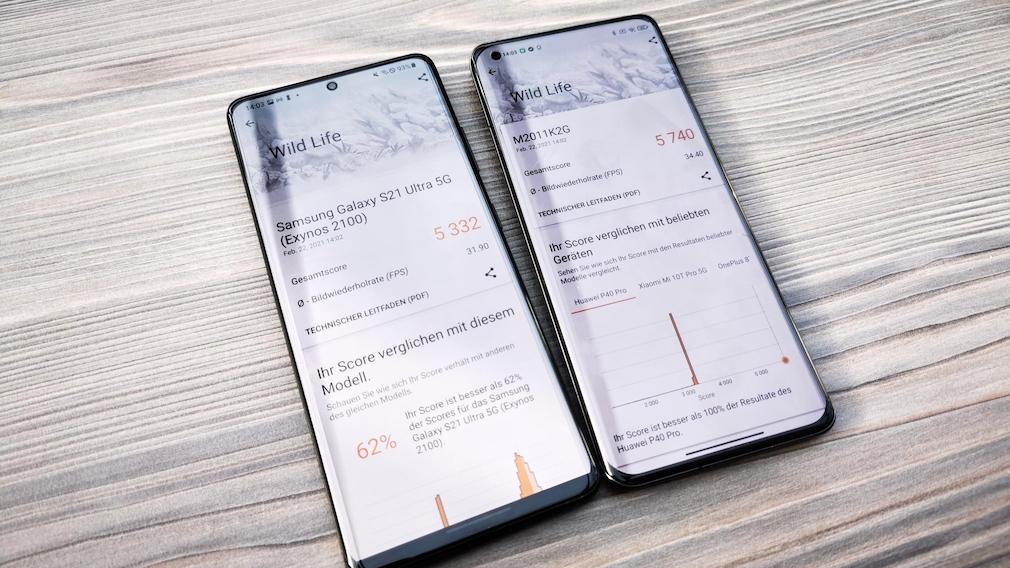 Benchmark Samsung Galaxy S21 Ultra vs Xiaomi Mi 11