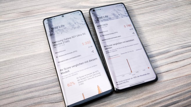 Benchmark Samsung Galaxy S21 Ultra vs Xiaomi Mi 11©COMPUTER BILD / Michael Huch