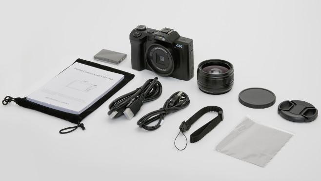 Aabeloy 4K Digitalkamera mitgeliefertes Zubehör©COMPUTER BILD
