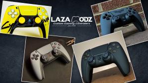 Verschiedene DualSense-Controller-Designs©iStock.com/SonerCdem, instagram.com/lazamodz