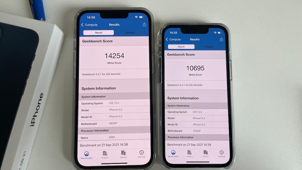 Geekbench-Metal iPhone 13 Pro vs. 13 (mini)