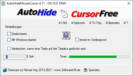 Screenshot 1 - AutoHideMouseCursor