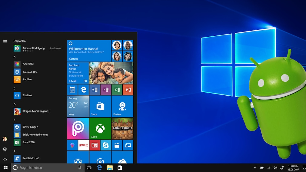 Windows 10 mit Android©Microsoft, Android