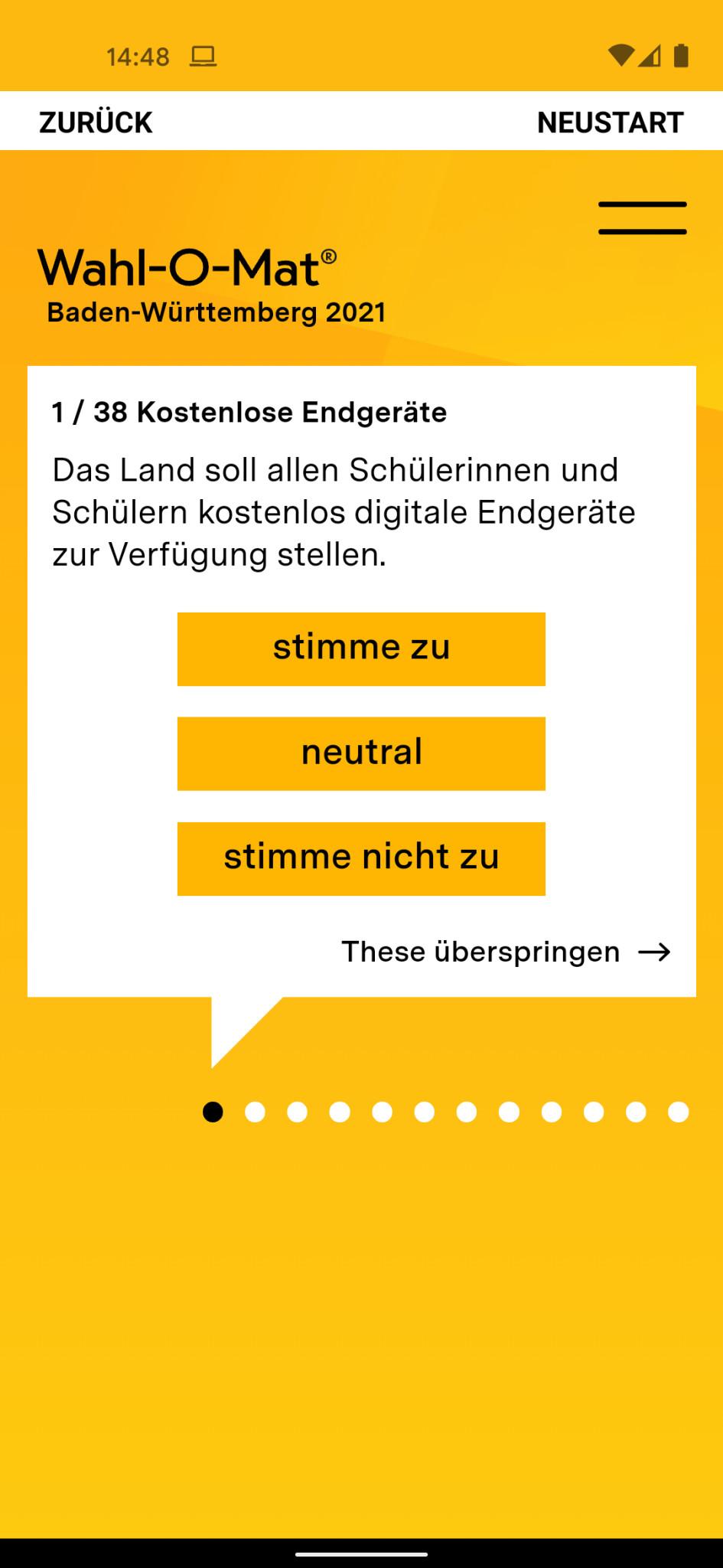 Screenshot 1 - Wahl-O-Mat (Android-App)