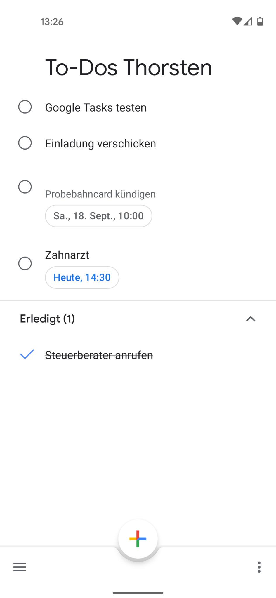 Screenshot 1 - Google Tasks (Android-App)