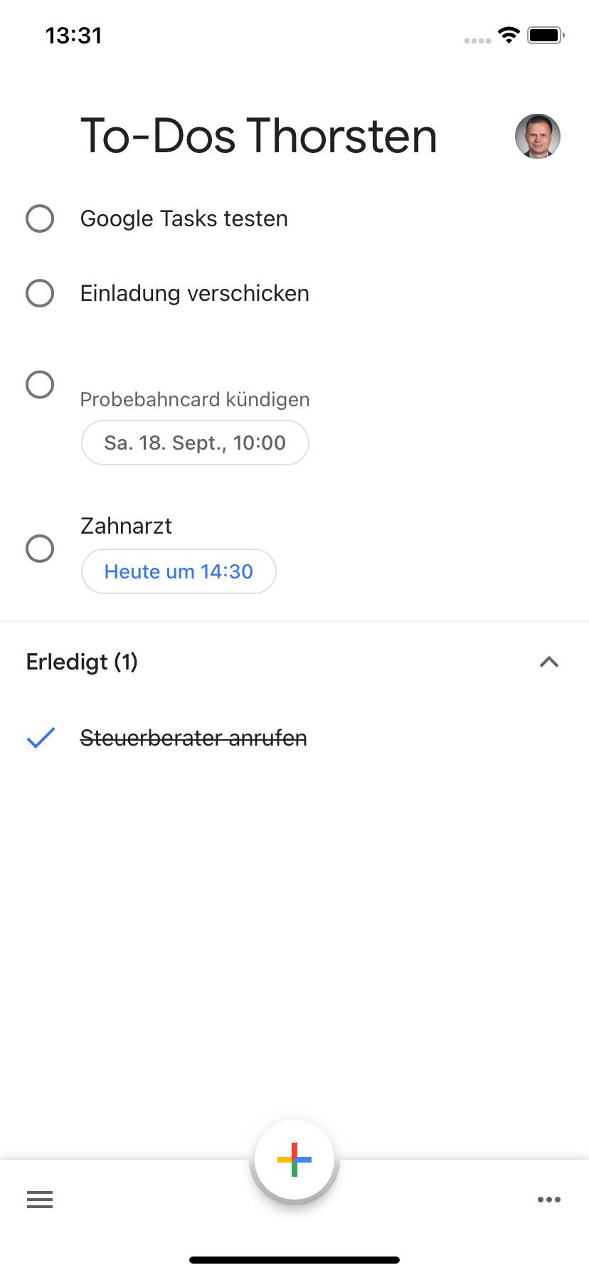Screenshot 1 - Google Tasks (App für iPhone & iPad)