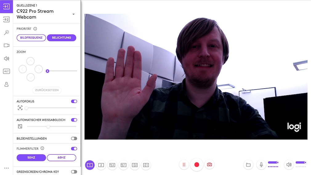Logitech C922 Pro Stream im Test: Logitech Capture