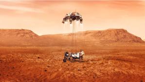 """Mars-Rover: Perseverance läuft mit alter iMac-Technik von 1998 Der NASA-Roboter """"Perseverance"""" setzte in einem ausgetrockneten See auf dem Mars auf.©NASA/dpa-Bildfunk"""